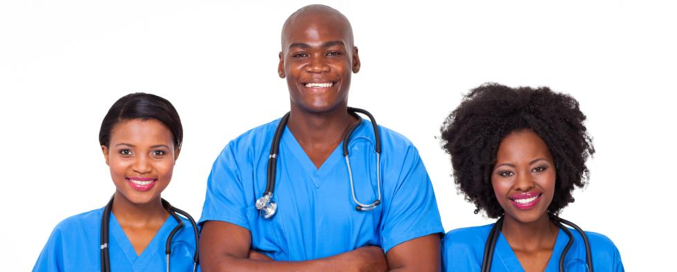3 black american nurses in blue uniform