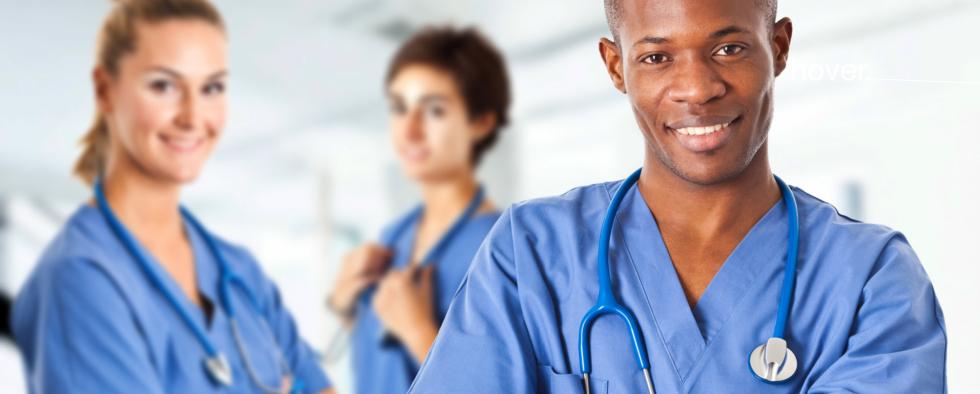2 white female nurses with 1 black american male nurse
